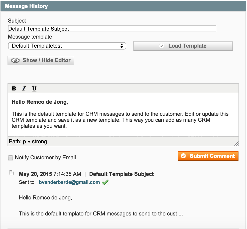 Get A Quote system with Magento - Message History